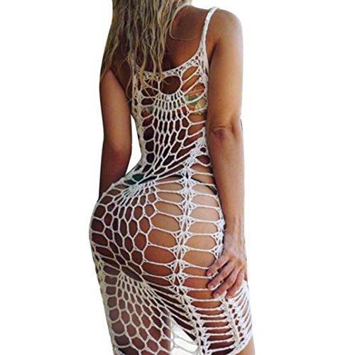 Sommerkleider Damen VENMO Frauen Bikini Cover Up Kleid Hand-Häkeln Hollow Bademode Strand Kleid Sommer White