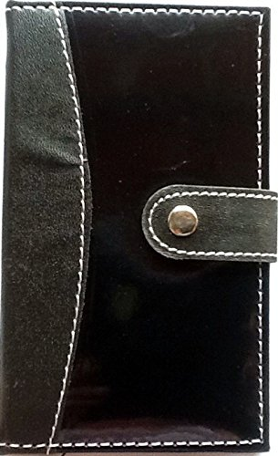 Faux-leder-snap (Notizbuch in Faux Leder Snap Cover ~ 3,3x 5,7~ 80liniert Blatt ~ schwarz)