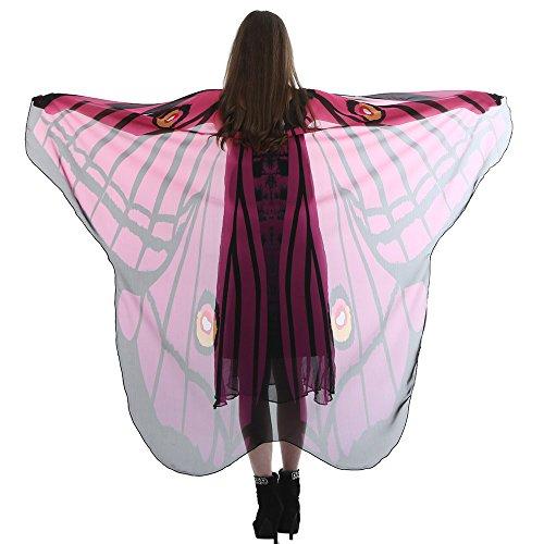 VEMOW Heißer Verkauf Elegante Damen Cosplay Karneval Lange Schmetterlingsflügel Cape Weiche Schal Schals Wrap Schal Nymphe Chmetterling Kostüm(Hot pink, 185 * 145CM)