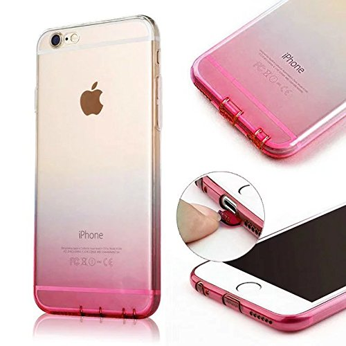 MOMDAD Coque iPhone SE Etui iPhone SE 5 5S Coque de Protection Housse Etui TPU Transparent Souple Case Cover Shock-Absorption Bumper et Anti-Scratch Effacer Gel Silicone Couvrir Coverture Shell Coquil Gradual change-rose rouge