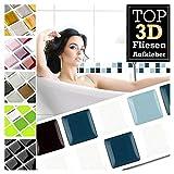 Grandora 7 Stück 25,3 x 3,7 cm blau schwarz weiß Fliesenaufkleber Design 29 I 3D Mosaik Fliesenfolie Küche Bad Wandaufkleber Fliesensticker Fliesendekor W5423