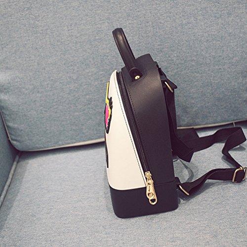 Weibliche Paket Silikon Schlag Farbe Gläser Fünf - Sterne Schulter Beutel College Studenten Wind Studenten Reise Taschen Schwarz