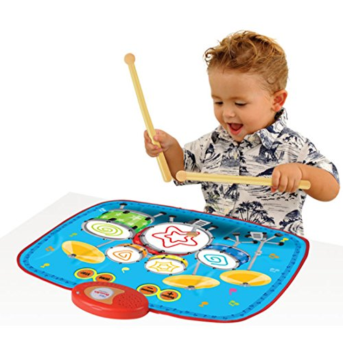 CT-Tribe Mini Kinder Drum Set Muster Musikalischen Touch Play Mat Baby Bildungs Musik Teppich Kind Spielzeug Geschenk mit 2 Drumsticks (Spielzeug Drum-set Für Kinder)