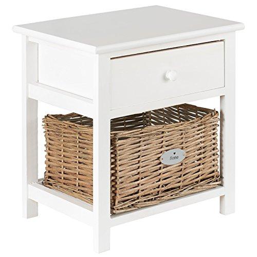 Hartleys Kleiner Nachttisch in Weiß, mit Weidekorb