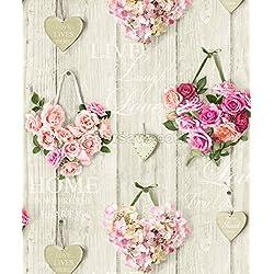 Grandeco - Papel pintado, diseño de rosas y corazones, aspecto de madera, estilo vintage