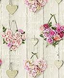 Grandeco Vintage Hearts aus Holz, mit Rosen-Motiv, Leuchtwinkel, - Pink A14503, 10 m