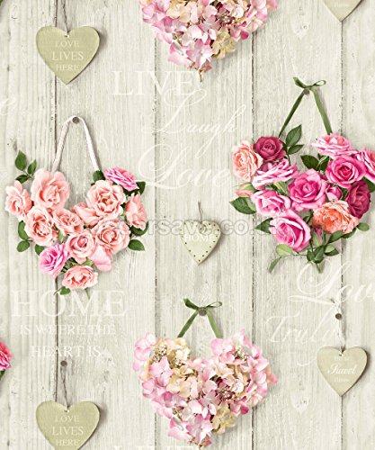 Grandeco - Papel pintado, diseño de rosas y corazones, aspecto de mad