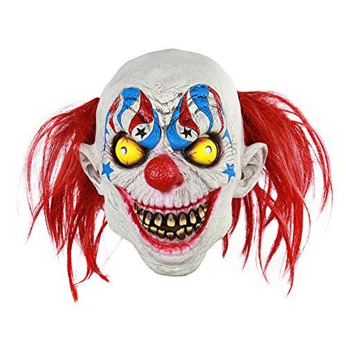 Clown Kostüm Beängstigend - Halloween Latex Maske Gruselige Rote Haare Blut Mund Zirkus Clown 3D Beängstigend Teufel Neuheit Kostüm Partei Cosplay Requisiten Rollenspiel Spielzeug