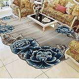 BAGEHUA maßgeschneiderte Türkei Teppich Schlafzimmer Bettwäsche Decke Wohnzimmer Couchtisch Sofa Blumen Profilierte Teppich, 1600mmx2300Mm, 8902 B - Blau
