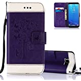 """Aeeque Galaxy S7 Edge Case Stand, Ultra-thin PU Leather Bookstyle Flip Wallet Magnetic Closure Cover Elegant [Purple White] Butterfly Tree Pattern for Samsung Galaxy S7 Edge 5.5"""" with Credit Card Slots"""