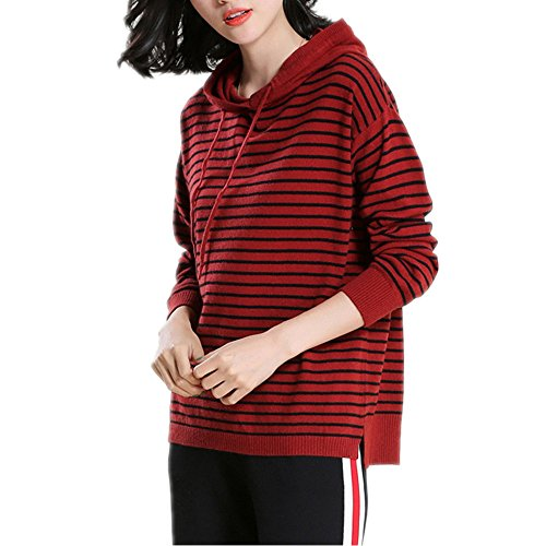 Kapuzenpullover Damen Elegant Langarm Kaschmir Pullover - Fashion Women Gestreift Frühling Strickhemd (Rot, Small) (Kaschmir Gestreift Pullover)
