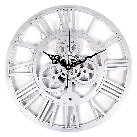 Soledi Vintage Clock, European Retro Clock Acrylic Wheel Gear Frameless Home Decoration Wall Hanging Clock (Silver)