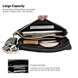 Befen Women Leather Wristlet Clutch Purse Cell Phone Wallet, Mini Cross Body Bag with Shoulder Strap/Wrist Strap/Card Slots for iPhone 8/7 Plus/Samsung Note 5 – Black