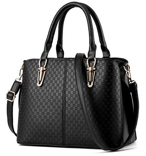 Tibes Fashion Frauen Top Handle Handtasche Geldbörse Satchel C Schwarz - Handle Satchel Bag