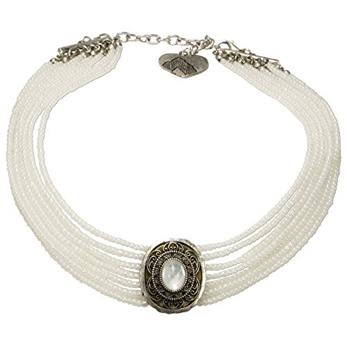 Schmuck Perlen Trachten (Alpenflüstern Trachten-Perlen-Kropfkette Josepha - elegante Trachtenkette - nostalgischer Damen-Trachtenschmuck, filigrane Dirndlkette weiß)