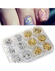 Vovotrade ❤❤12 PCS ongles Art Paillette d'argent d'or Flocon de Copeau Foil DIY UV Acrylique Pager de Gel