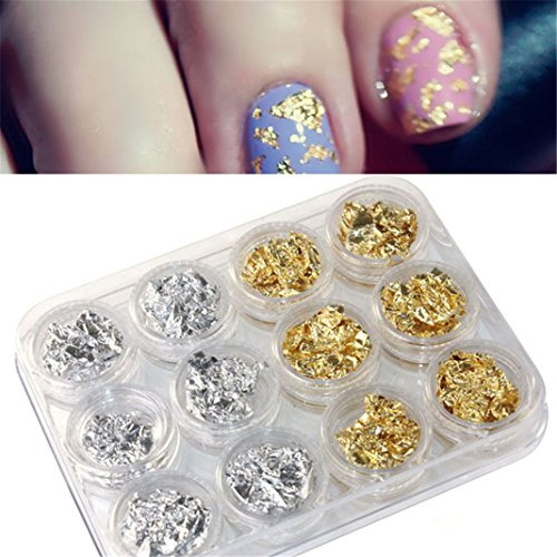 Vovotrade ❤❤12 PCS ongles Art Paillette d'argent d'or Flocon de Copeau Foil DIY UV Acrylique Pager de Gel
