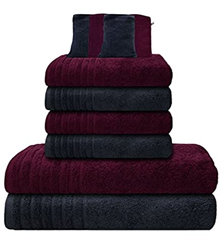 Gallant 10 tlg Handtücher Set grau lila 4 Handtücher 50x100 cm 2 Duschtücher Badetücher 70x140 cm 4 Waschhandschuhe Waschlappen 100% Baumwolle Frottee Handtuch-Set grau lila