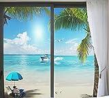 Pellicola per Vetri Finestre Adesivo Privacy Risparmio Energetico Decorazione per Uffici Bagni Residenziali Paesaggio Marino Spiaggia 80x120cm