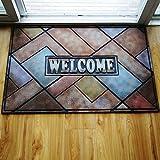 Teppiche Ying PVC-Gummi-Türmatte Anti-Rutsch-Verschleiß-Muster-Gravur Willkommen bei der mitteleuropäischen Stil (Farbe : B, größe : 60cm*90cm)