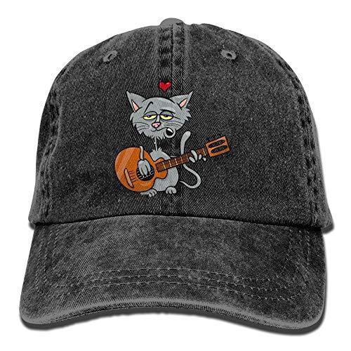 UUOnly Taktischer Baseball-Hut der Karikatur-Katzen-Gitarren-Denim-Hut-justierbarer Männer