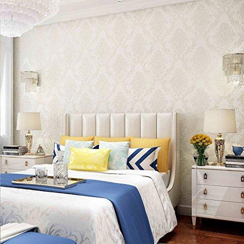 KINLO Mustertapete hell weiss 10M Fernsehhintergrund Schlafzimmer Hotel Vliestapete Tapete Wandbilder 3D Wand Dekoration