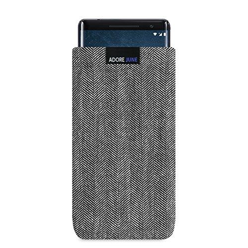 Adore June Business Tasche für Nokia 8 Sirocco Handytasche aus charakteristischem Fischgrat Stoff - Grau/Schwarz | Schutztasche Zubehör mit Display Reinigungs-Effekt | Made in Europe