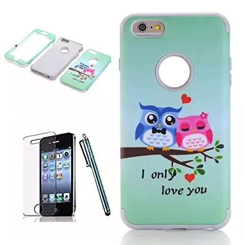 iPhone 6 Plus Case,Lantier [3 Pieces High Impact Hybrid Shockproof Durable]I Love You Owls 3 in 1 Silicone PC Tough Rugged Armor Combo Back Cover for Apple iPhone Plus 6 5.5 inch/white ILove You OwlsLOVE/white