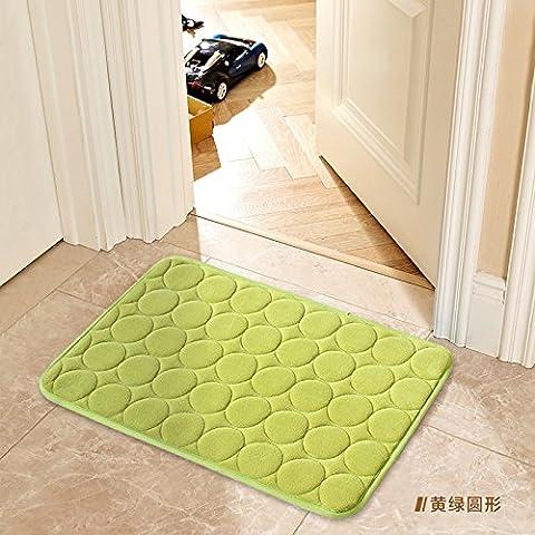 JinYiDian'Shop-Tür Matte Matten Badezimmer Matten, 60 × 90 cm Eingangsmatten, grüner Kreis (Grüne Scraper)