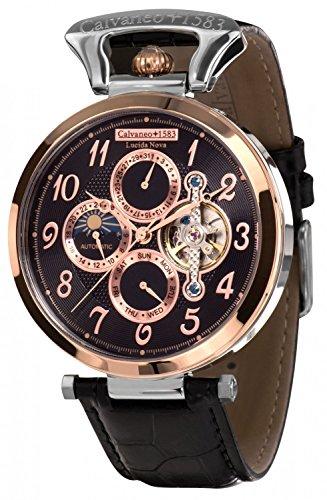 Calvaneo 1583–Reloj de pulsera hombre lucida Nova Rose Oro Acero analógico automático piel negro 107930