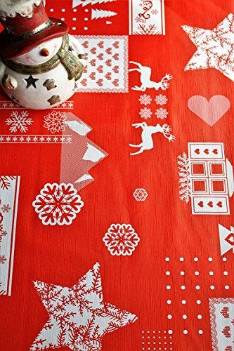 Mantel de Navidad estampado con relieve, en rojo, se limpia con un paño, de 140cm x 200cm, de Wjdhome