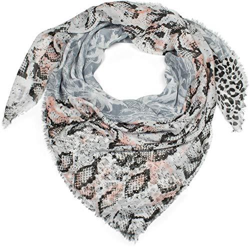 styleBREAKER pañuelo cuadrado XXL de mujer con motivo estampado de leopardo, serpiente y palmeras con aplicación de estrás y deshilachados, chal, pañuelo 01016188, color:Gris-Rosa-Negro