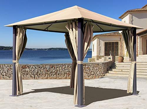 QUICK STAR Metall Garten Pavillon Paris 3x3m Antik Sand Partyzelt mit 4 Seitenteilen