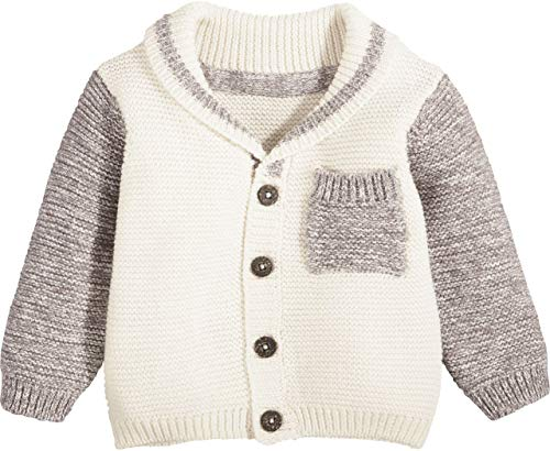 lupilu® Baby Jungen Strickjacke aus 100% Bio-Baumwolle mit Brusttasche (Offwhite beige Ärmel, Gr. 50/56)
