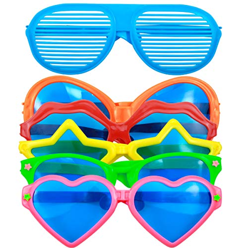 NATUCE 6 Stücke Partybrille Spassbrillen Jumbo Kunststoff Sonnenbrillen Shutter Shades Brille Herzförmige Brille Kostüm Brille Neuheit Gläser für Photo Booth Requisiten Dress-up Zubehör & Party (Herzförmiger Kostüm)