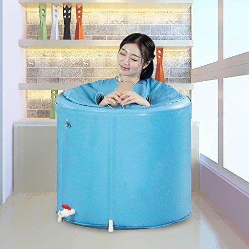 Baignoire Pliante Adulte Baignoire Gonflable Gratuite Seau de Bain pour Enfants Baignoire en Plastique Baignoires et sièges de Bain (Color : Blue, Size : 65 * 60 cm)