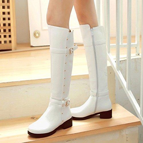 Femmes Mode Cheval Bottes white COOLCEPT Eclair Fermeture De dqazdC