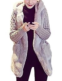 a2500549abdc95 Donna Cappotto Invernale Lungo Elegante con Cappuccio Manica Lunga con  Tasca Vintage Moda Casual Calda Finta Pelliccia Knit Cardigan…