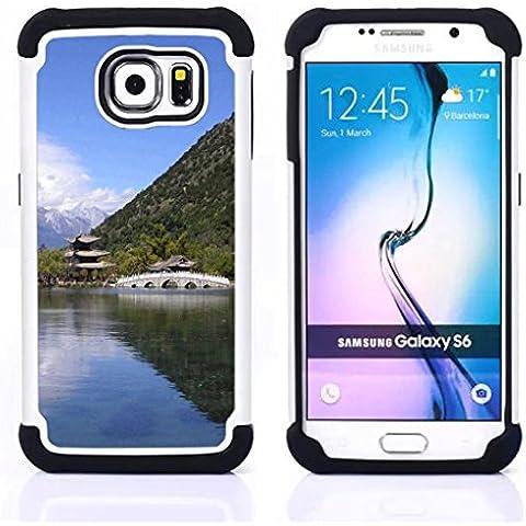 Hypernova Ibrido Heavy Duty Armatura antiurto Cover silicone cassa caso robusto Per Samsung Galaxy S6 / SM-G920 [Tempio Natura asiatico]
