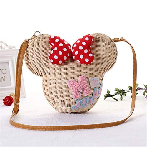 Damen Handtasche Schultertasche Mädchen Rattan Stroh Tasche Vintage Casual Eimer Sommer Wicker Bag Cream M -