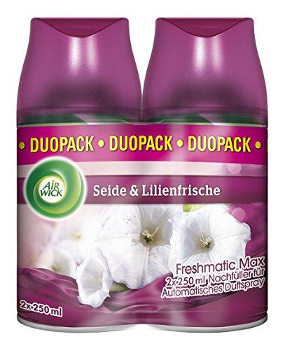 Air Wick Freshmatic Max Nachfüller Duo Seide & Lilienfrische, automatisches Duftspray, Nachfüller für automatischen Lufterfrischer, 2 x 250ml