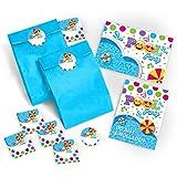 JuNa-Experten 12 Einladungskarten Geburtstag Kinder Schwimmbad incl. 12 Umschläge, 12 Geschenktüten / blau, 12 Aufkleber Mädchen Jungen Jungs Geburtstagseinladungen