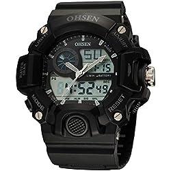 OHSEN Men's Women's Sport Wristwatch Outdoors Waterproof Watch Analog Digital Display Backlight with Alarm Stopwatch - Black