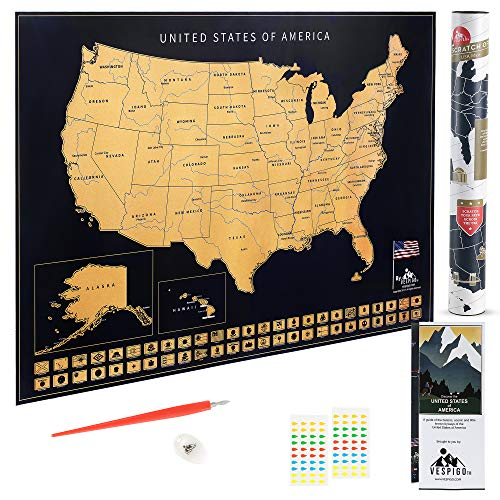 Usa scratch off map by vespigo - 24x17 - national the best Amazon ...