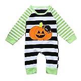 SEWORLD Baby Halloween Kleidung,Niedlich Neugeborenes Baby Halloween Gestreift Spinne Kürbis Strampler Overall Outfits Kleidung(Grün,6 Monate)