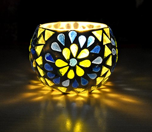 Lalhaveli Crafted Mosaic Glass Tea light Christmas Candle Holder 8 Cm