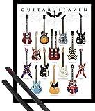 1art1 Guitares Mini Poster (50x40 cm) Guitar Heaven, Rock Hall of Fame Et Kit De Fixation Noir