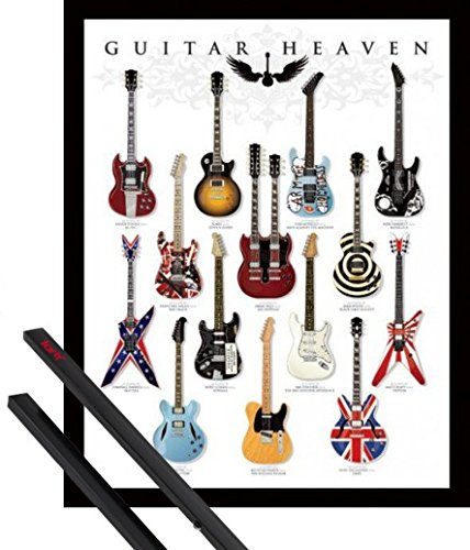 1art1 Poster + Hanger: Gitarren Mini-Poster (50x40 cm) Guitar Heaven, Rock Hall of Fame Inklusive EIN Paar Posterleisten, Schwarz -