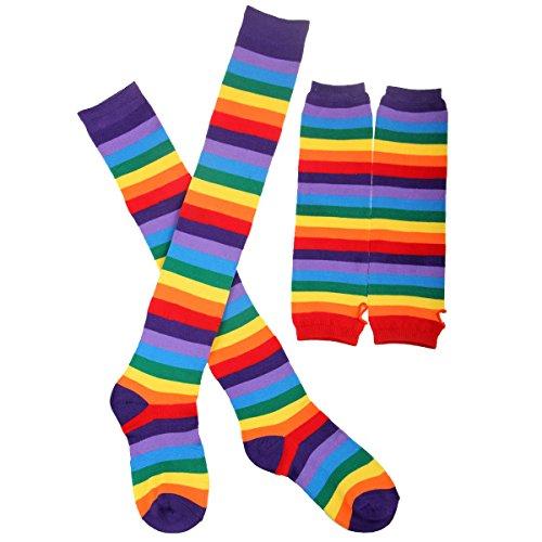 tfit Zubehör Rainbow Stripes stricken Strümpfe oder fingerlose Handschuhe Arm Warmer Fancy Dress (Armee Outfit Zu Halloween)