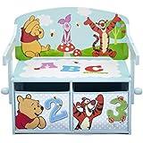 Winnie the Pooh - Caja de almacenamiento 2 en 1 (convertible en banco y mesa, madera)